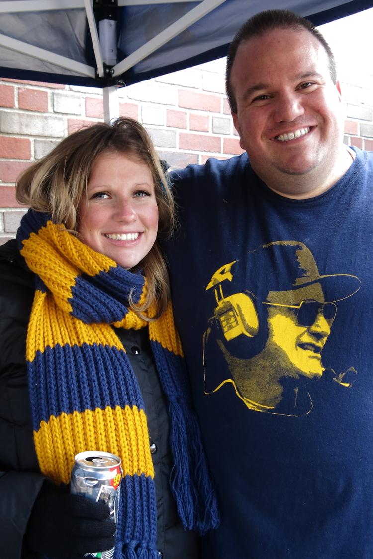 11/30/13 Michigan 41 - Ohio State 42 : Frankie and Kristen and a still baking baby Madeleine.