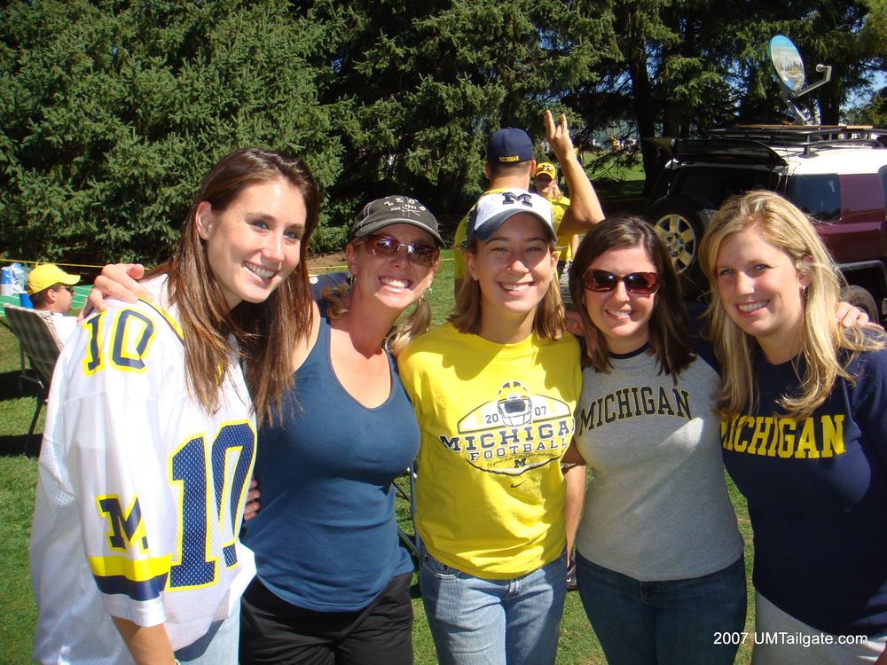 September 22, 2007:  The ladies pose at the carnival themed tailgate before Michigan's 14-9 victory over Penn State.