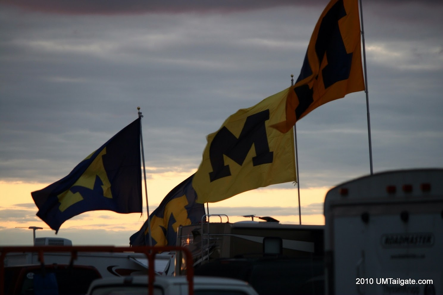 Flags fly over Bloomington after  Michigan holds off the Hoosiers 42-35  on October 2, 2010