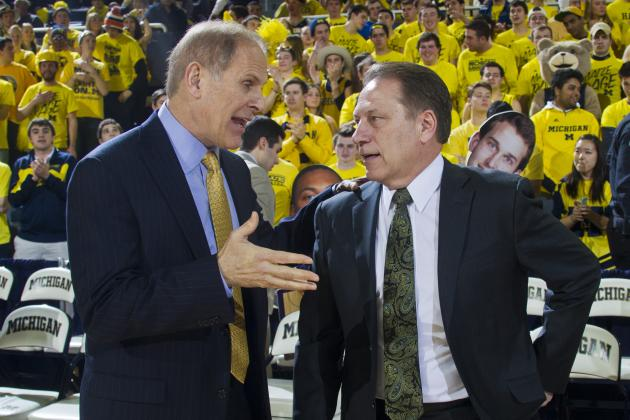 Beilein: Hey Tom, what's a good place for steak in East Lansing?  Tom: Sorry John, we only talk about basketball.  Beilein: How about you John?  John Engler: Sorry John, we only talk about basketball.