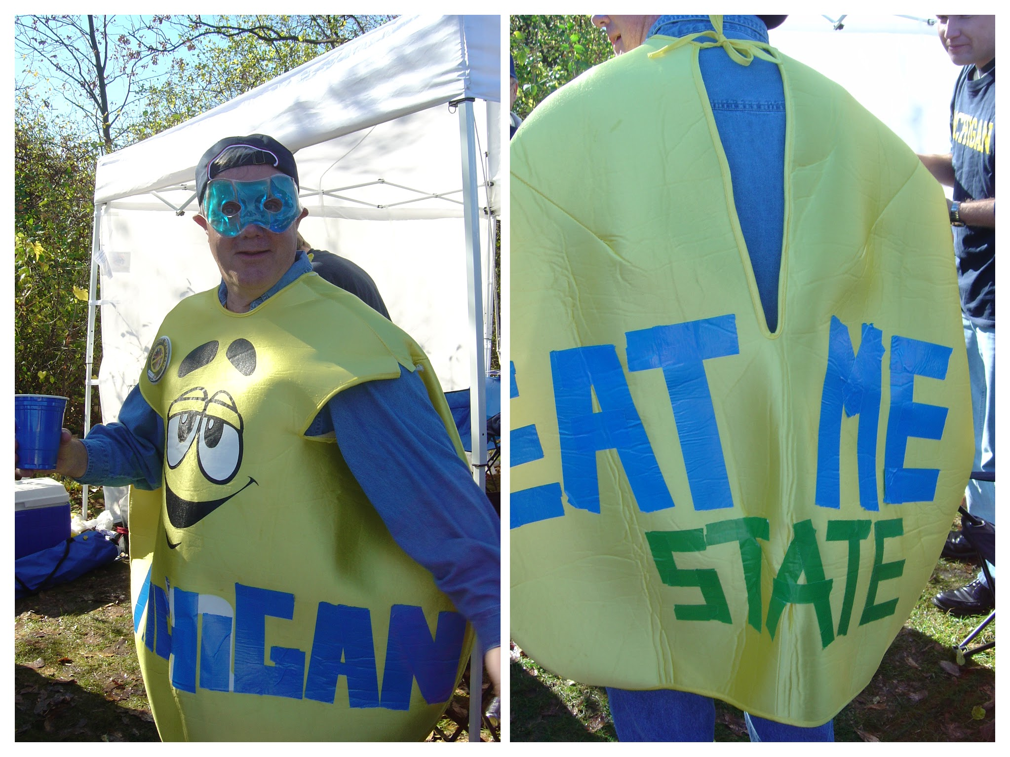 October 30, 2004 - Captain Michigan wears an M&M suit before Michigan's 17-point 4th quarter comeback led to victory in 3OTs 45-37.   Gamepage is here .