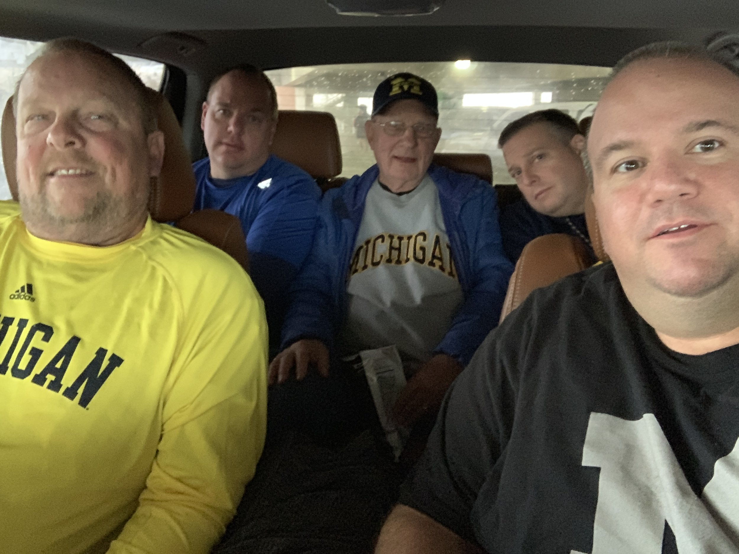 The tailgate: five dudes in a car just not wanting to get noticed...neither in the car nor when they peed all over the parking garage