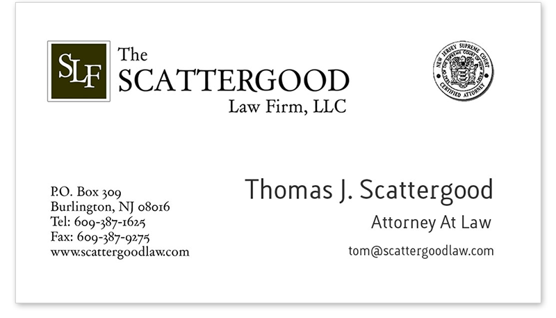Logo and business card design: The Scattergood Law Firm, LLC
