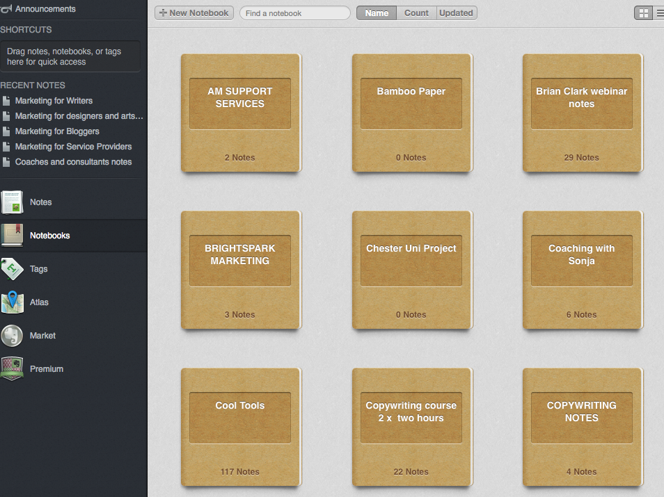 This is inside my Evernote with all my notebooks into which I pop relevant things I see and need to store.