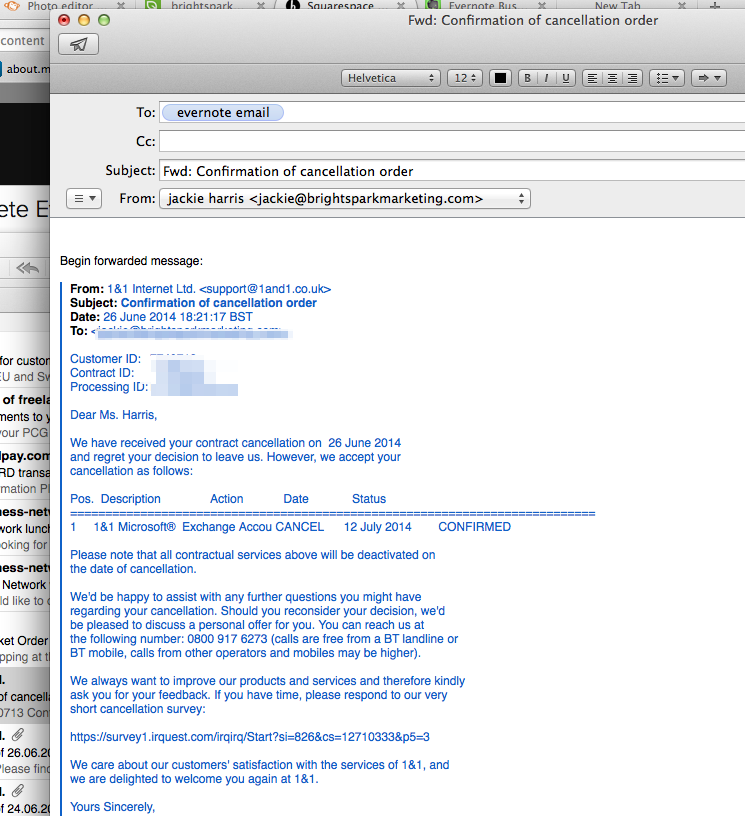 Here's the original email - which I just forward to Evernote.