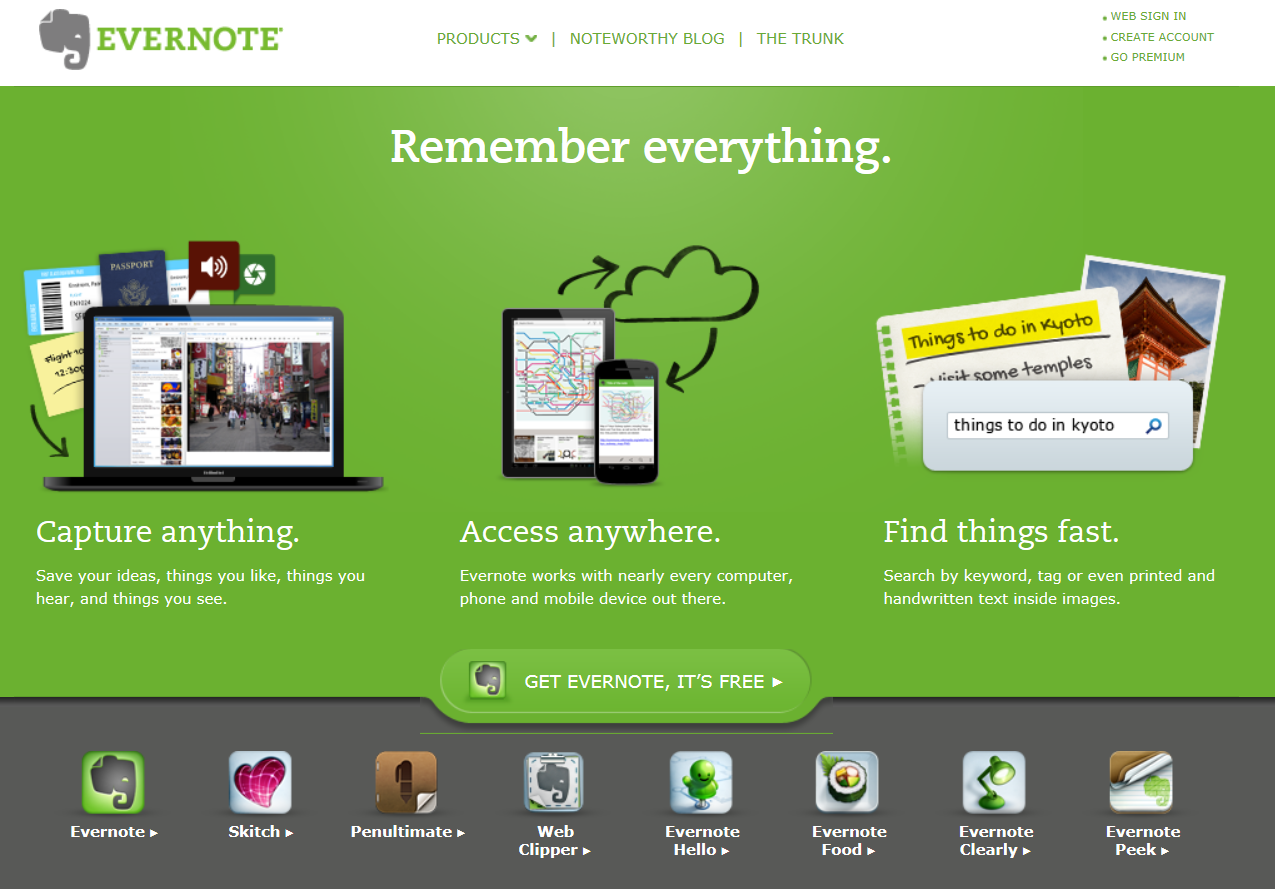 Evernote and rule of three