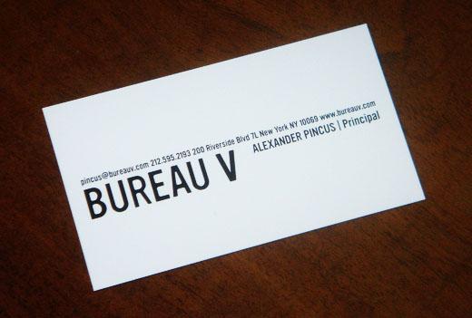 Bureau V Business Card Alexander Pincus