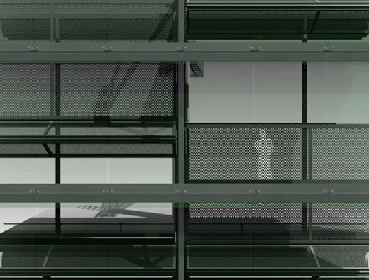 Double glazed facade with mechanical louvers