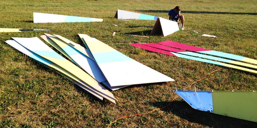 Building an installation at the Camp Bisco Music Festival