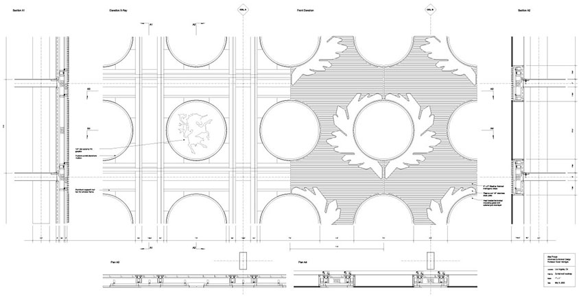 Ornamental Wooden Curtain Wall Drawing