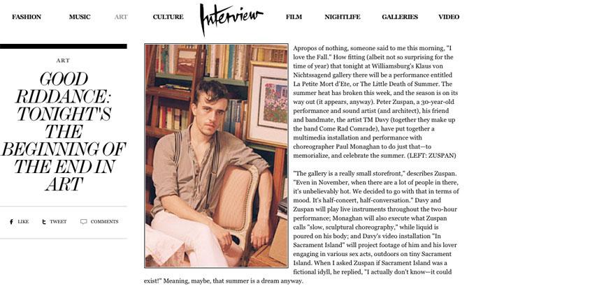 Peter Zuspan in Interview Magazine