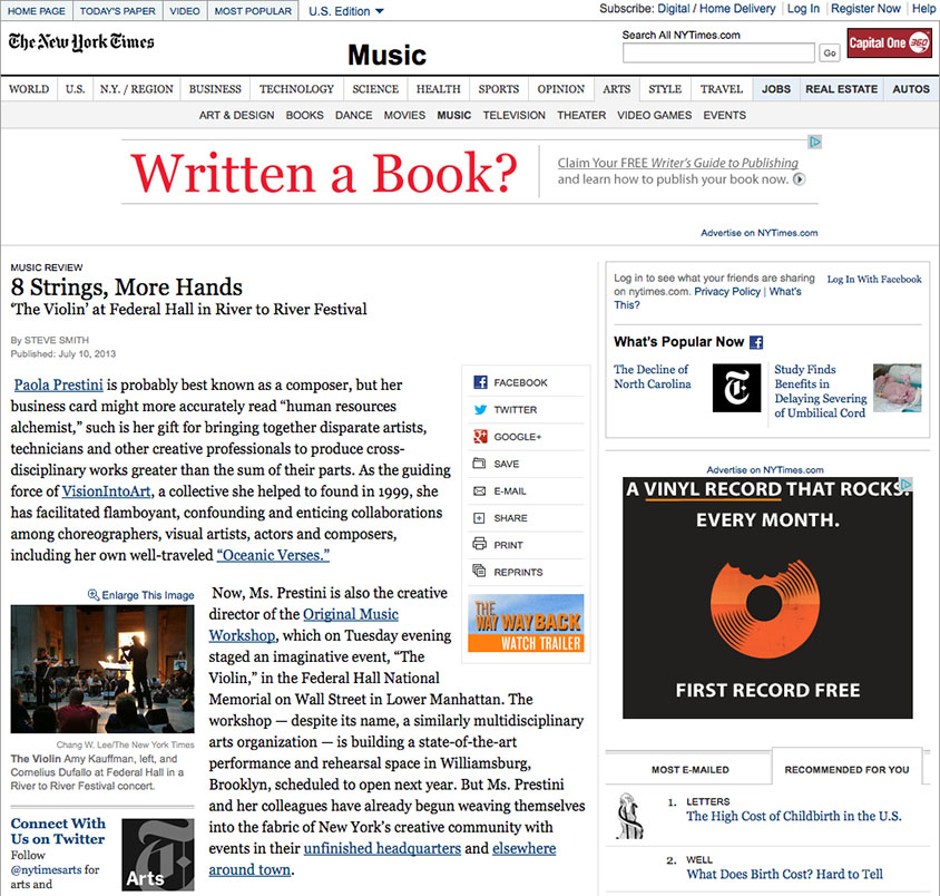 Original Music Workshop in New York Times