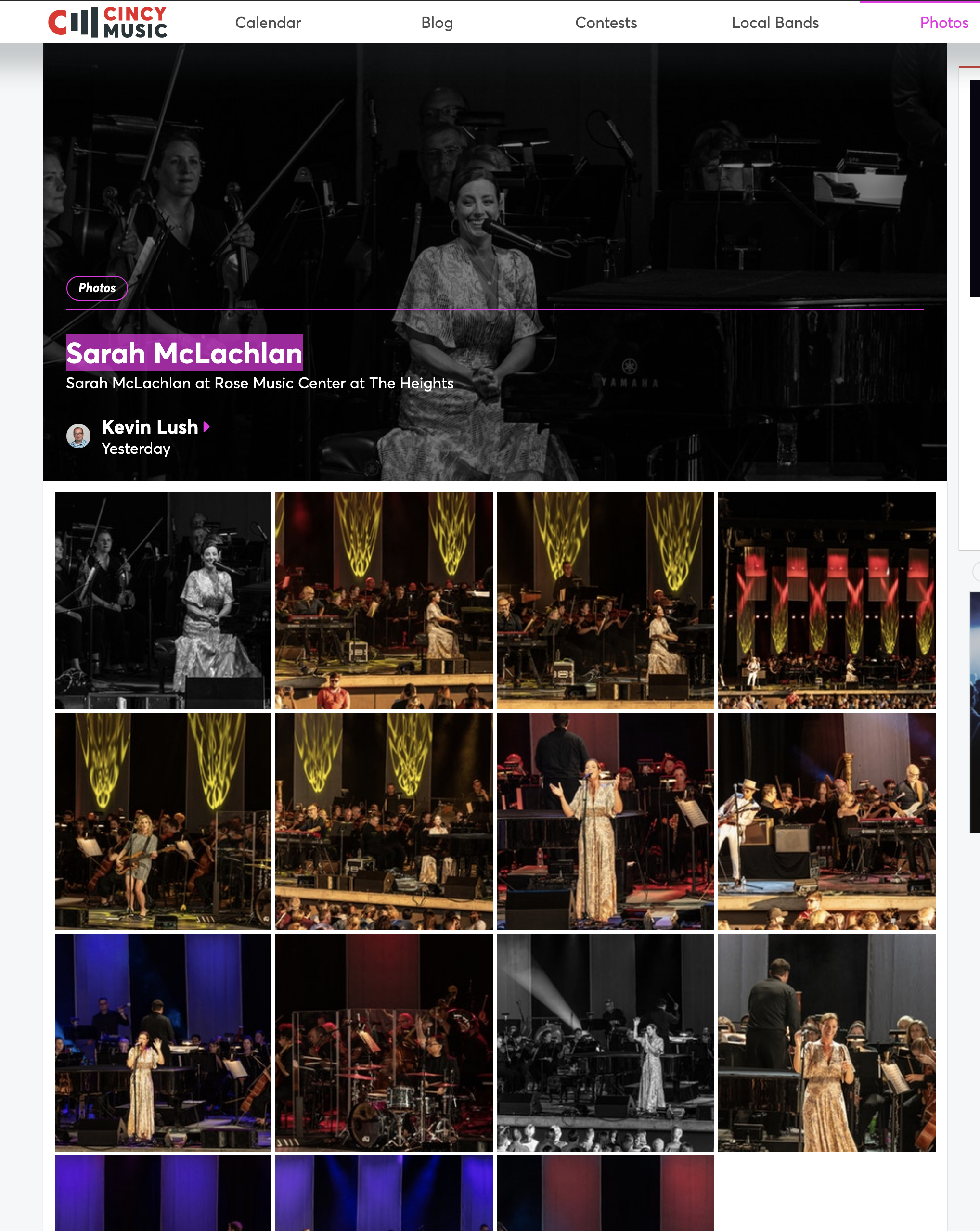Shot For CincyMusic.com Sarah McLachlan Rose Music Center Concert 2019