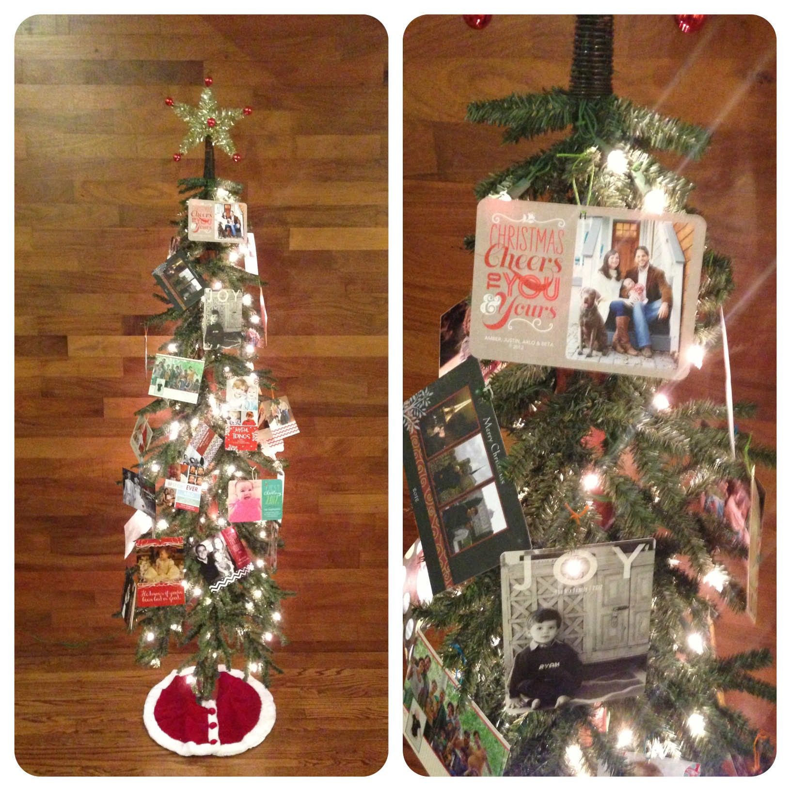 Secondary tree showcases all our family and friend's Christmas cards. OK, Amber put ours on top...
