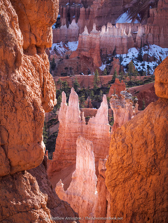 Chalky white hoodoos glow in the late afternoon light along the trail. OM-D E-M5, 45mm F1.8