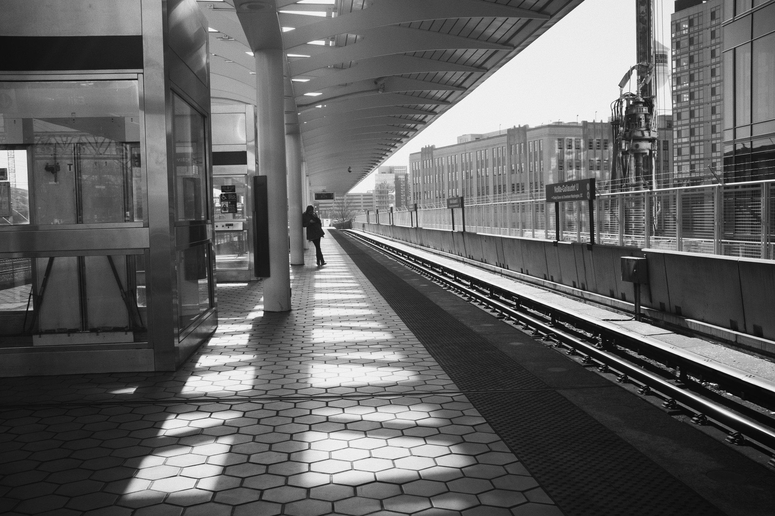 On the platform at the NoMa-Gallaudet station.