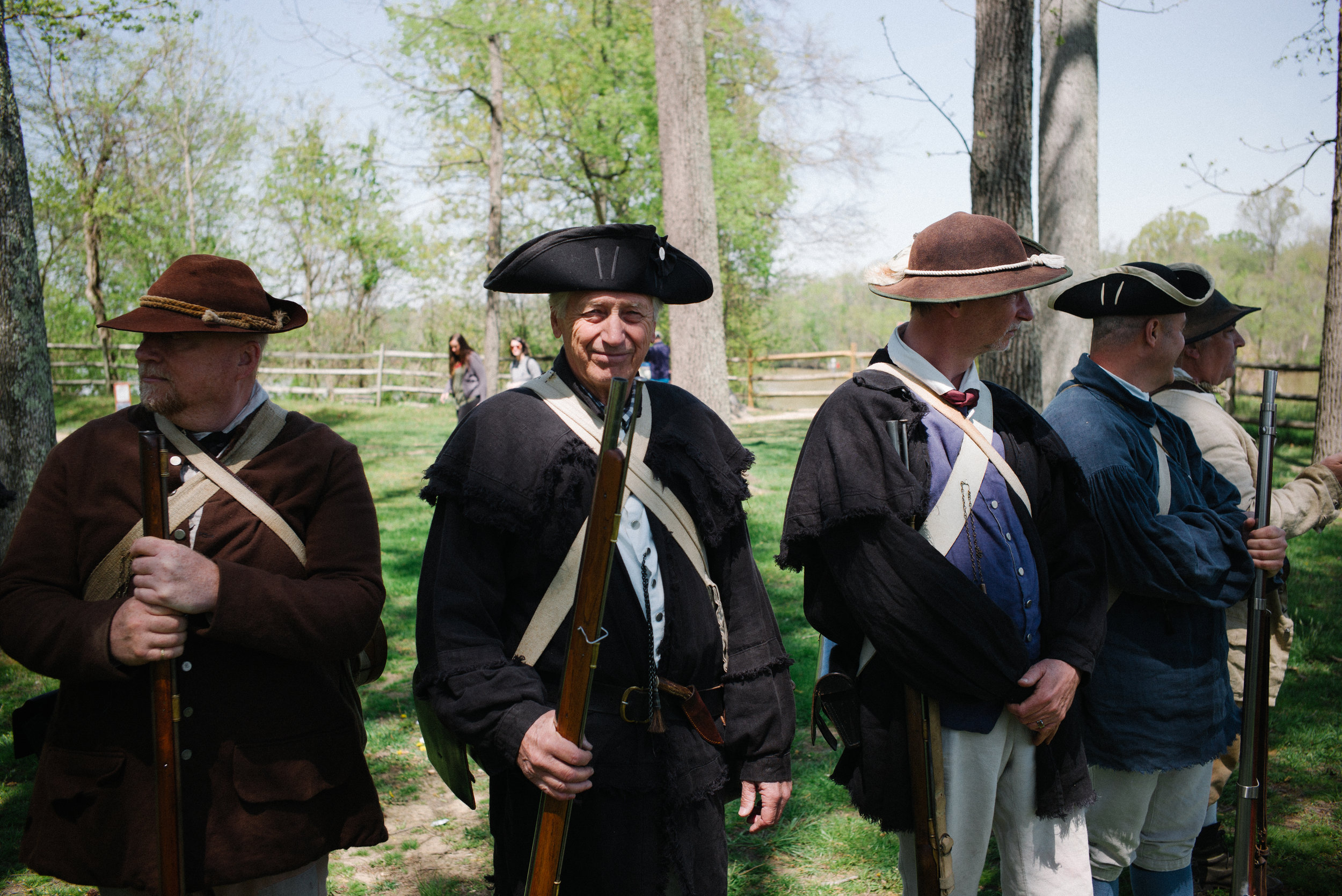Militia re-ennactors, after performing a firing demonstration.