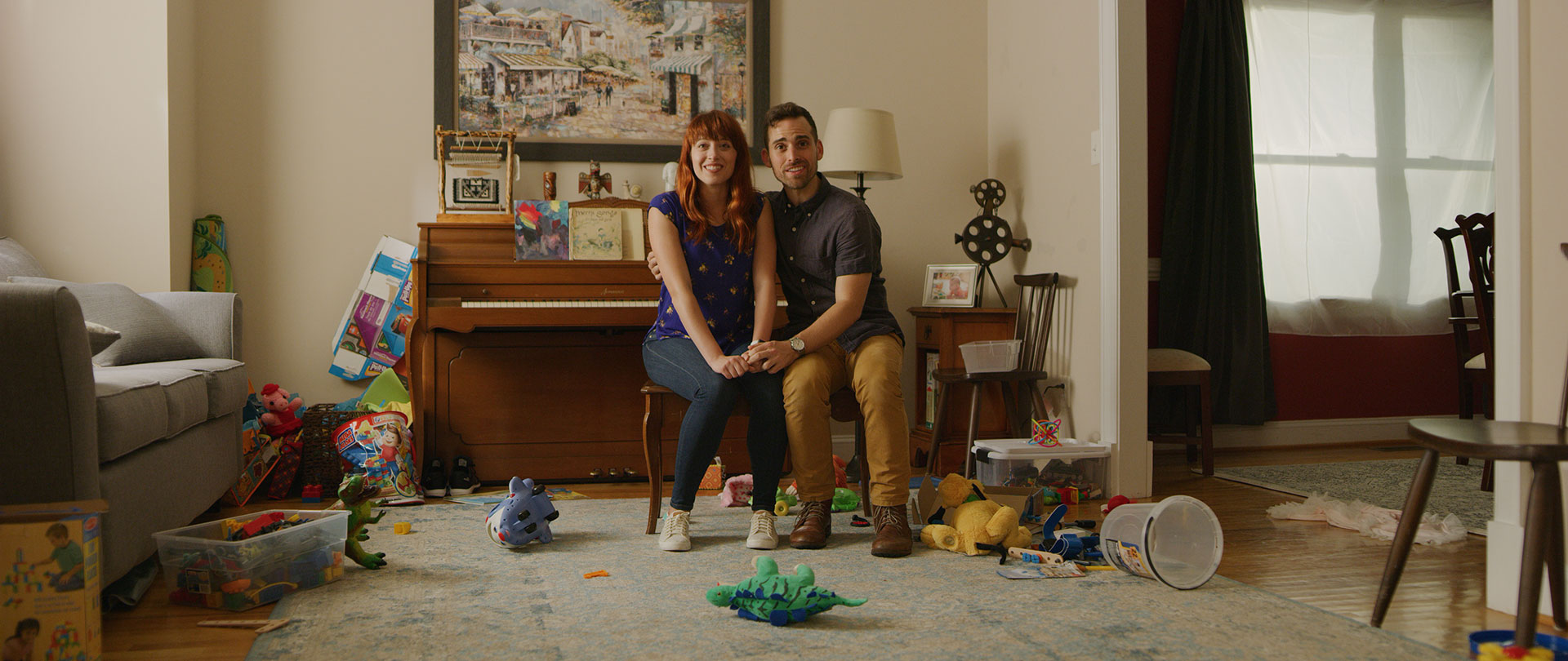 My on-screen husband Aaron Kheifets and I welcome our kids home in Ivan Kander's short film  A Day Without. (I have kids?!?)