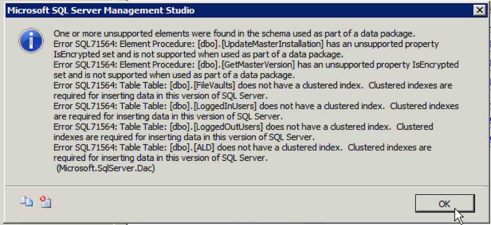 Error Details on SQL Azure deployment