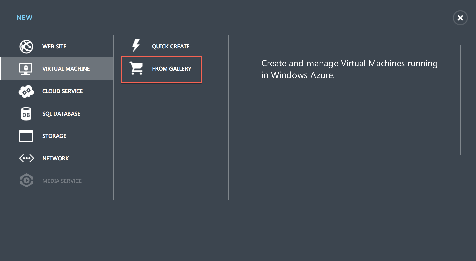"Step 2: Select ""Virtual Machine"", ""From Gallery"""