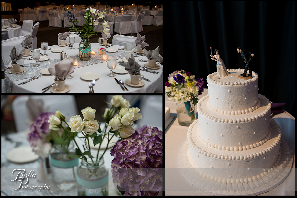 014_Bolla_Photography-wedding-details-reception-cake-flowers-centerpieces-table-purple-hydrangea-cream-roses-lillies-mason-jars-silver-turquoise-baseball-Collinsville-Gateway_Center-Hibbs.jpg