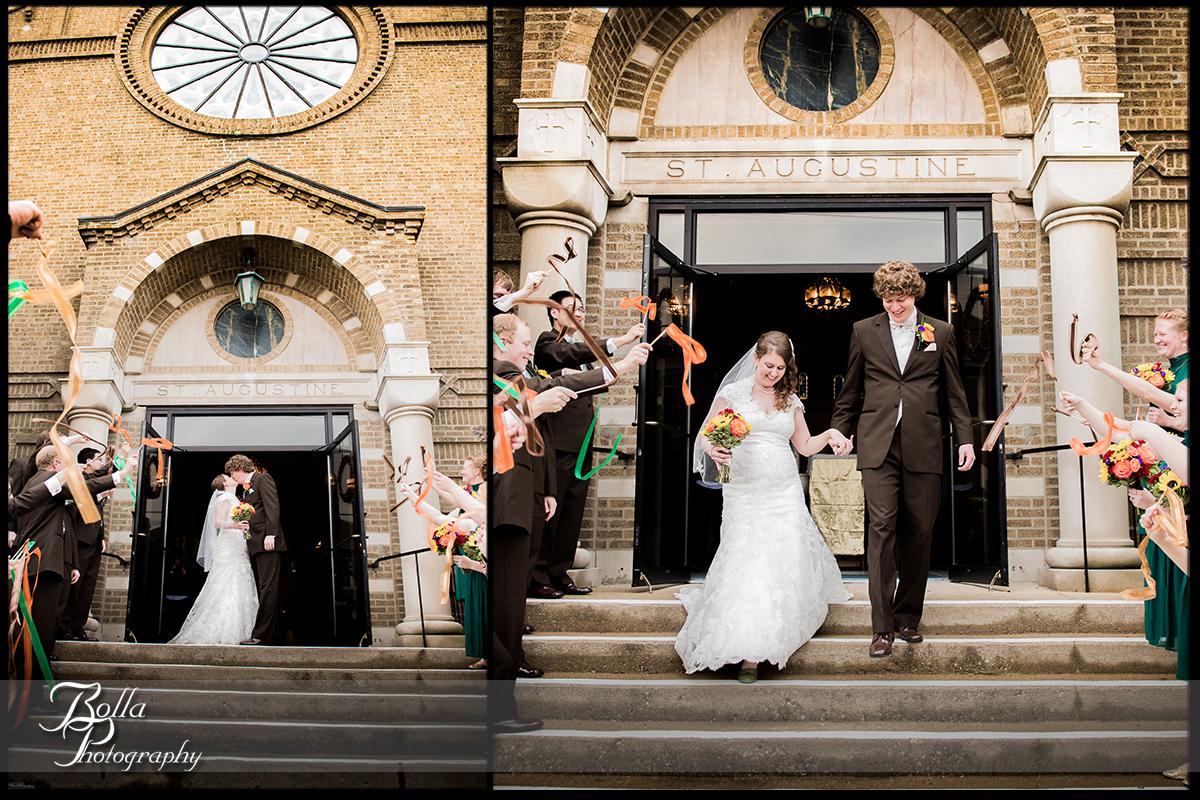 008_Bolla_Photography-wedding-church-ceremony-bride-groom-kiss-exit-steps-streamers-green-orange-brown-Breese-Kuhl.jpg
