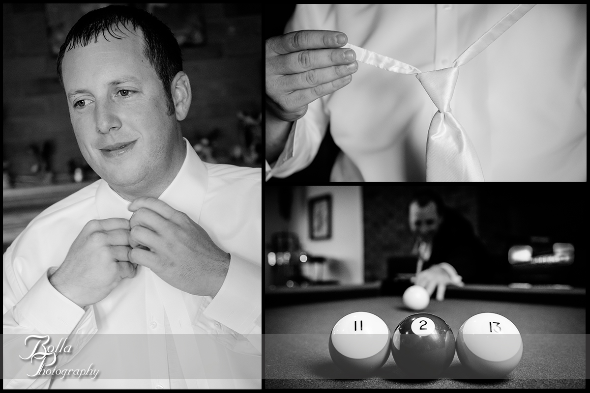 004-Bolla-Photography-wedding-Germantown-IL-groom-preparations-shirt-button-tie-pool-billiards-date-Albers.jpg