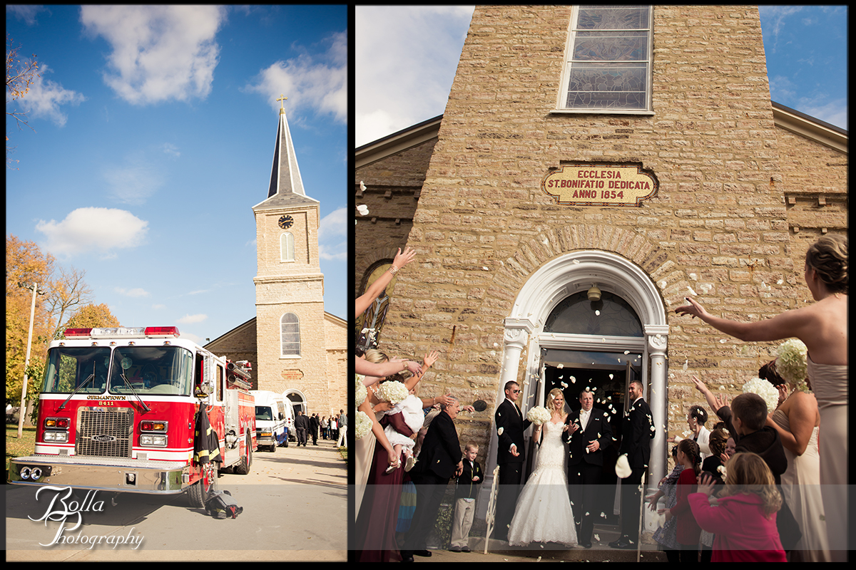 012-Bolla-Photography-wedding-Germantown-IL-ceremony-church-bride-groom-cheer-flower-petals-fire-truck-engine-Albers.jpg