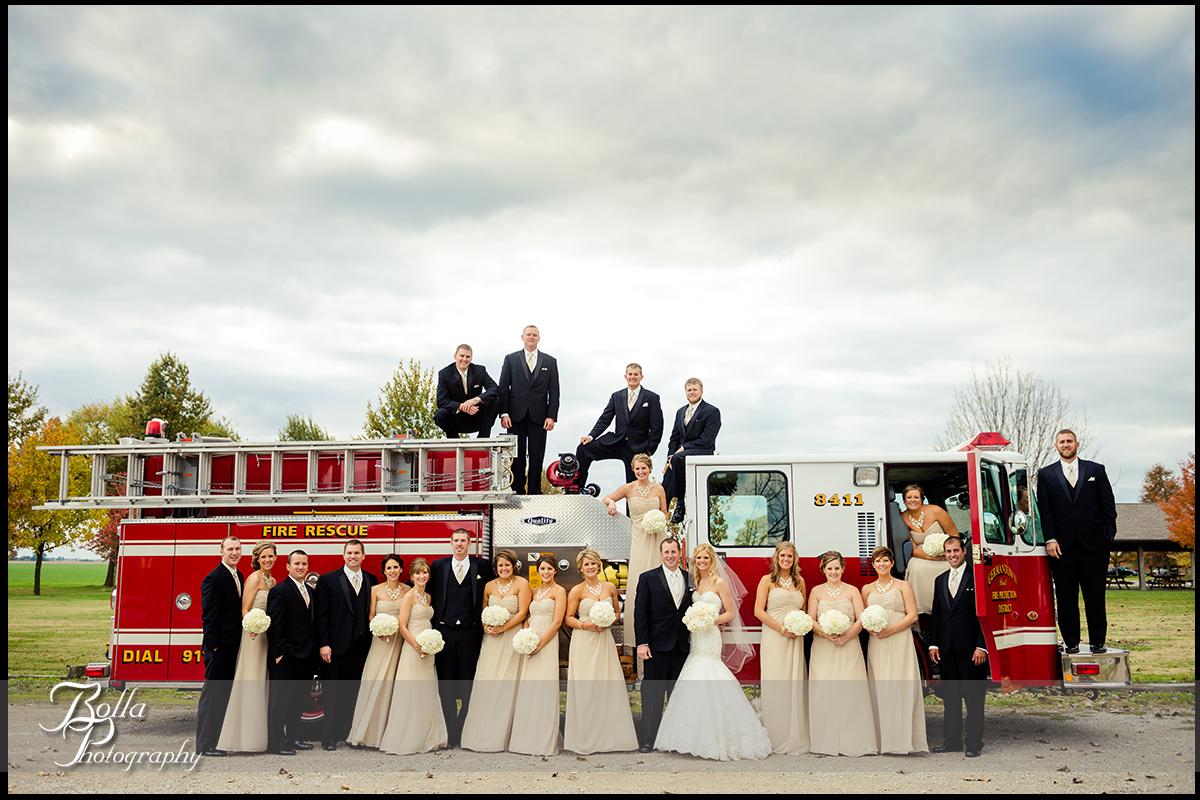 013-Bolla-Photography-wedding-Germantown-IL-portraits-bride-groom-bridesmaids-groomsmen-Breese-park-fire-truck-engine-Albers.jpg