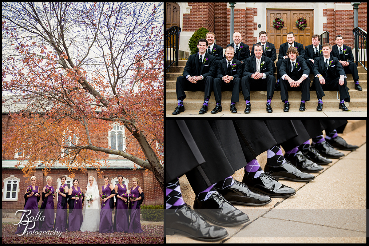 014-Bolla-Photography-wedding-Belleville-IL-bride-groom-portraits-church-wedding-party-bridesmaids-groomsmen-leaves-tree-fall-autumn-purple-socks-steps-Wilson.jpg