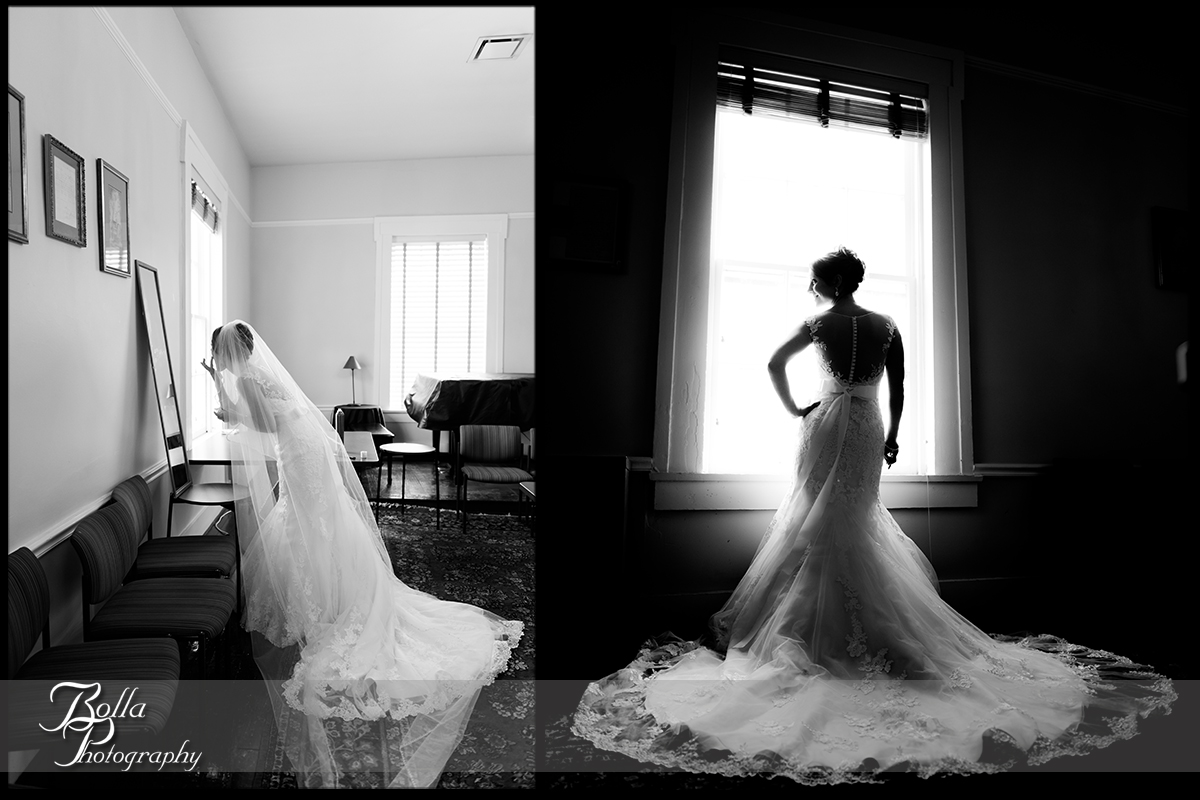 006-Bolla-Photography-Saint-Louis-wedding-photographer-McKendree-Bothwell-Chapel-Lebanon-IL-ceremony-Regency-OFallon-IL-reception-bride-preparations-dress-mirror-window-silhouette-McClain.jpg