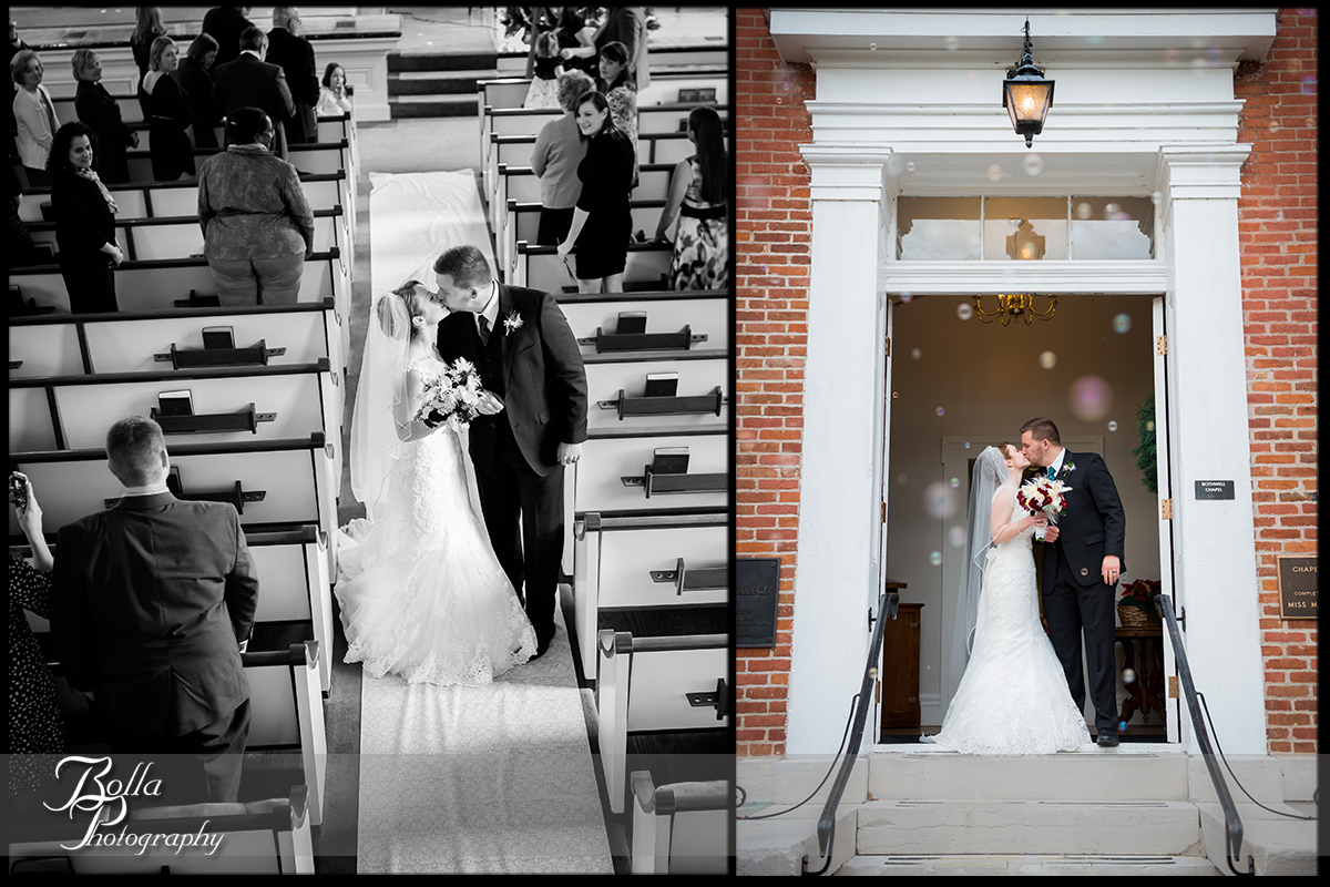 012-Bolla-Photography-Saint-Louis-wedding-photographer-McKendree-Bothwell-Chapel-Lebanon-IL-ceremony-Regency-OFallon-IL-reception-bride-groom-kiss-aisle-exit-church-bubbles-doorway-McClain.jpg