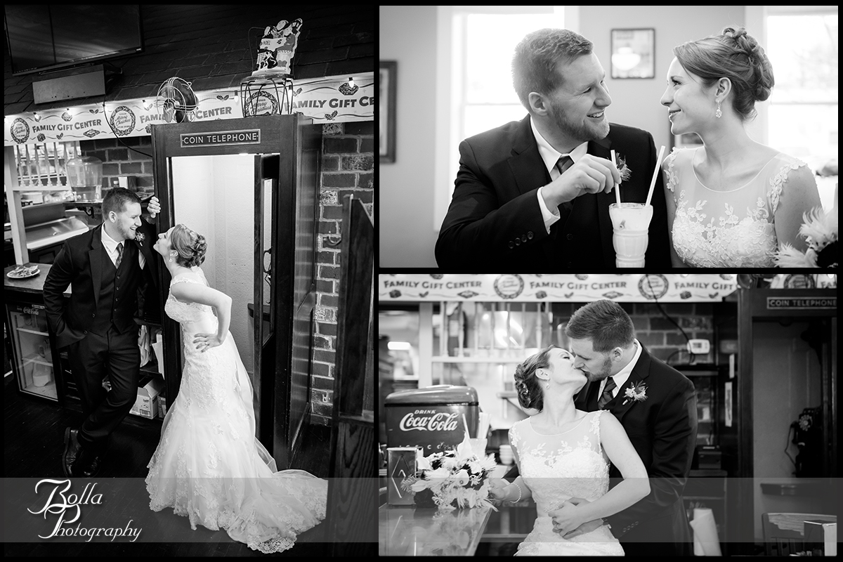 014-Bolla-Photography-Saint-Louis-wedding-photographer-McKendree-Bothwell-Chapel-Lebanon-IL-ceremony-Regency-OFallon-IL-reception-bride-groom-kiss-milkshake-telephone-booth-McClain.jpg