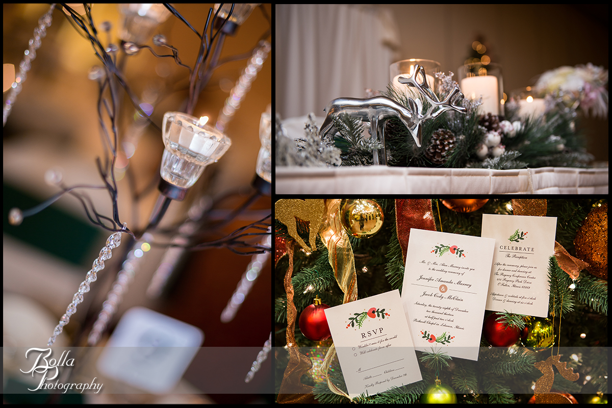 018-Bolla-Photography-Saint-Louis-wedding-photographer-McKendree-Bothwell-Chapel-Lebanon-IL-ceremony-Regency-OFallon-IL-reception-details-winter-christmas-tree-reindeer-pine-cones-candles-crystals-centerpiece-invitation-stationery-Mc.jpg