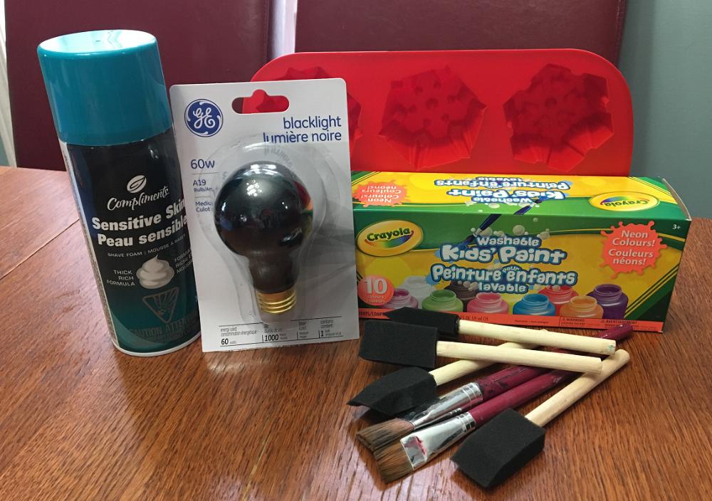 matériel de base pour faire de la peinture fluo
