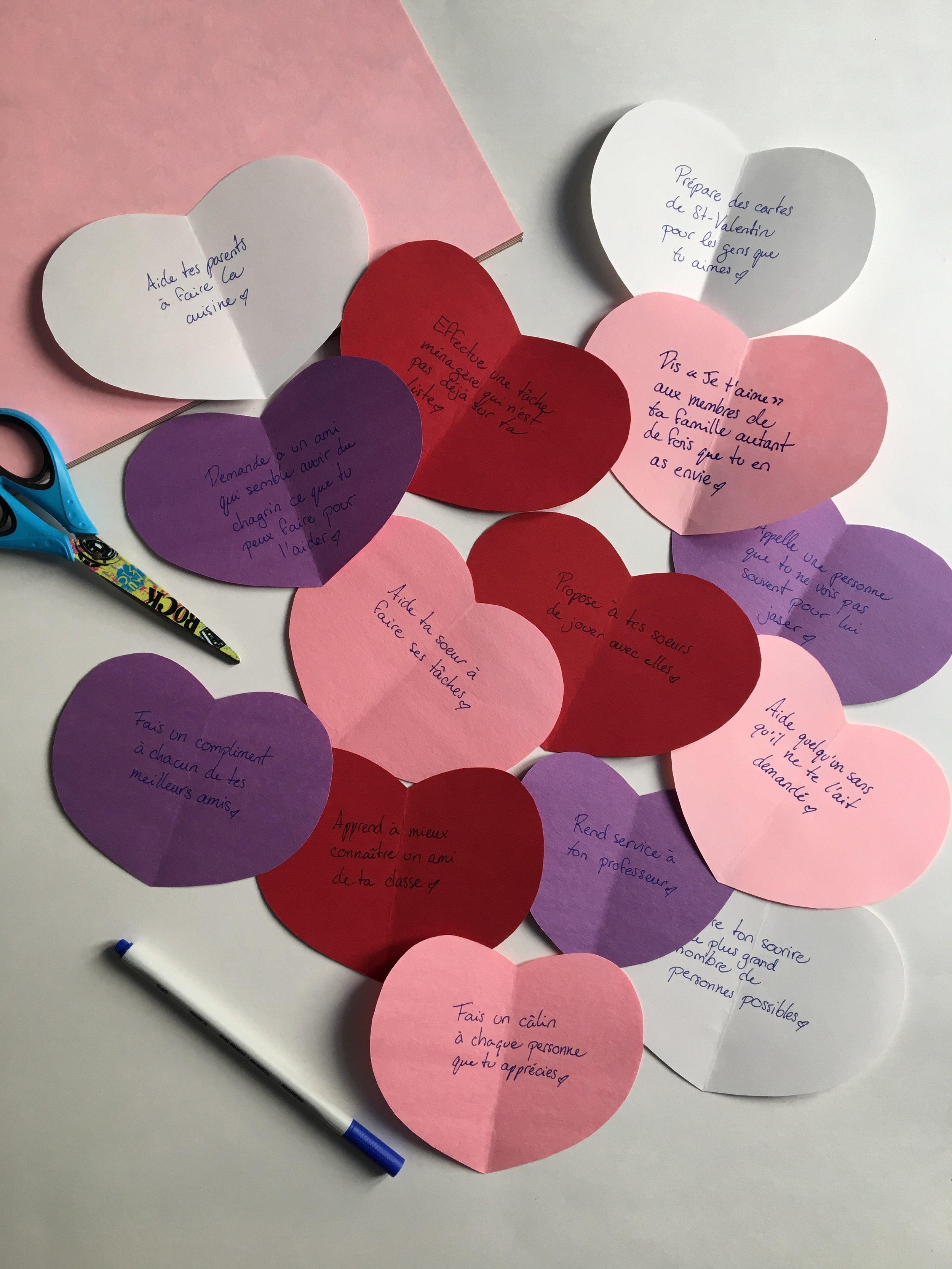 Saint Valentin-défi pour les enfants- décompte vers la Saint Valentin-Fêter la Saint Valentin-fêter autrement-gentillesses-actions gentilles-bonnes actions- MamanBricole-#MamanBricole-Je suis une maman
