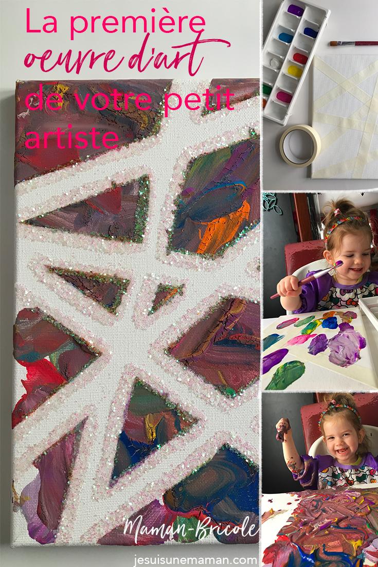 première oeuvre-bébé-tout petit-peinture-art-artiste-jouer-Découvrir-activité-MamanBricole-#MamanBricole-Je suis une maman