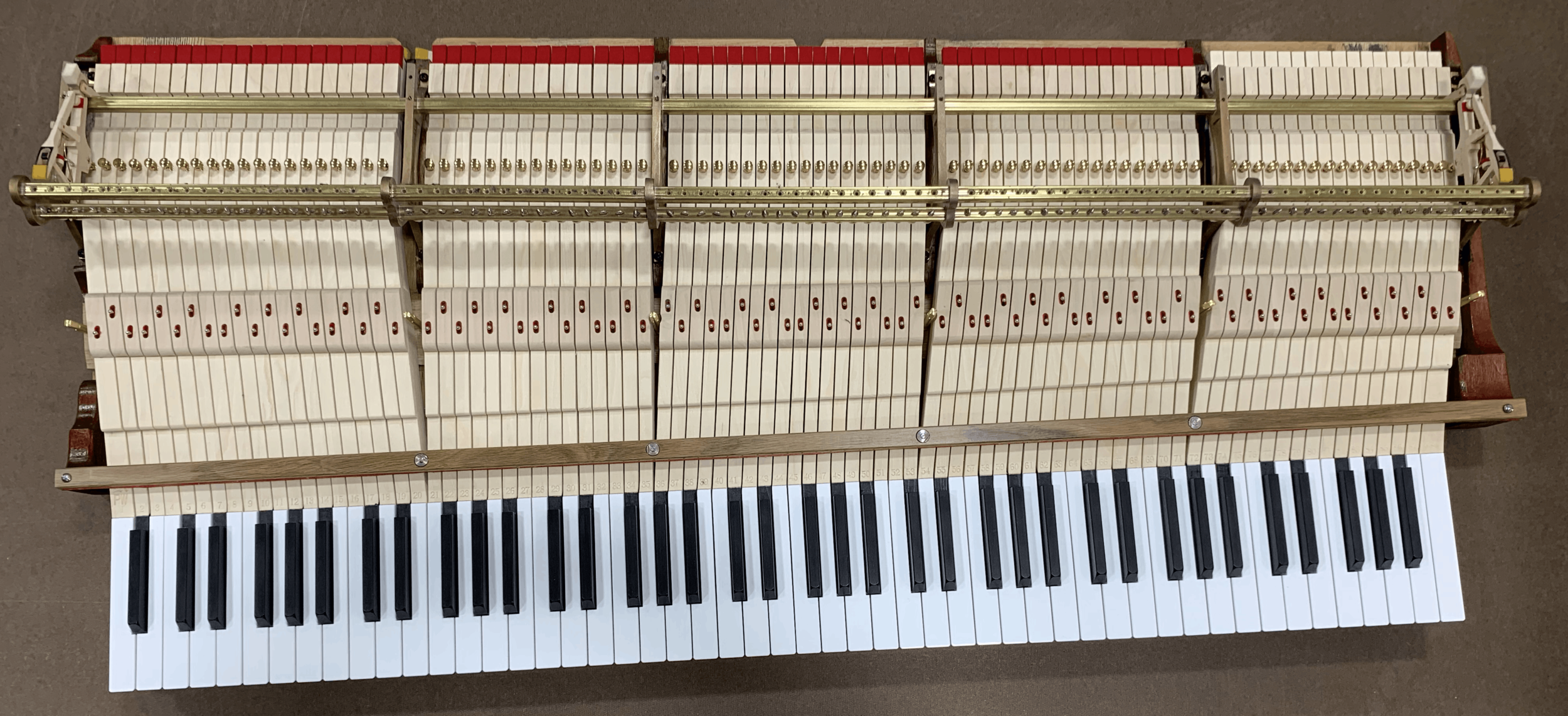Steinway & Sons 1918 model D keyboard built by Reyburn Pianoworks in our Rockford, Michigan shop, August 2019 - with new Steinway original stack also installed by RPW.