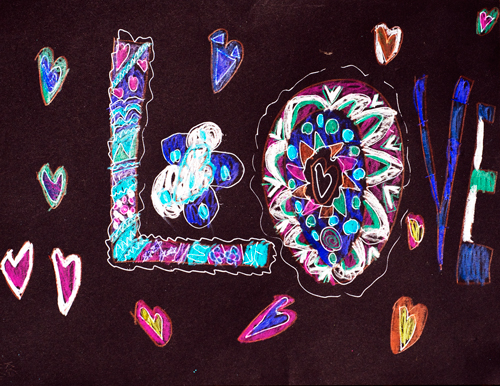 """""""love,"""" 8x11"""" art journal page on black card stock, colored pencil, created by my younger daughter when she was 9."""
