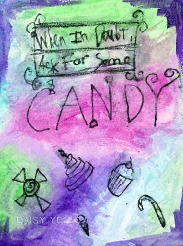 """""""candy,"""" 9x12"""" art journal page on watercolor paper,  neocolors, oil pastels, watercolor, created by my older daughter when she was 12."""
