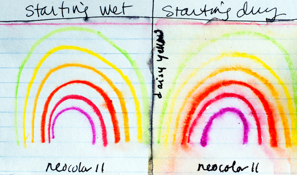 Left: Painted the index card with water, then drew the rainbow on top with Neocolor II. Right: Drew the rainbow on a dry index card, then painted with water.