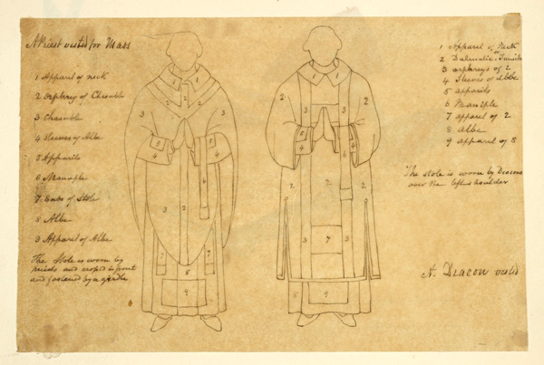 THE MIRIAM AND IRA D. WALLACH DIVISION OF ART, PRINTS AND PHOTOGRAPHS: ART & ARCHITECTURE COLLECTION, THE NEW YORK PUBLIC LIBRARY. (1840).A PRIEST VESTED FOR MASS; A DEACON VESTED.RETRIEVED FROM HTTP://DIGITALCOLLECTIONS.NYPL.ORG/ITEMS/5E66B3E8-7089-D471-E040-E00A180654D7