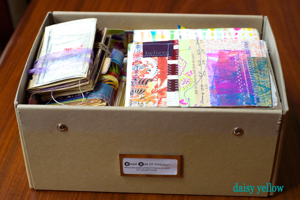 This box contains the smaller travel journals that are in the photograph below.