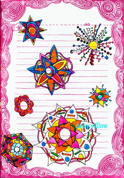 Mandala doodles in black Gelly Roll fine point and Sakura Glaze, artwork by Tammy Garcia.