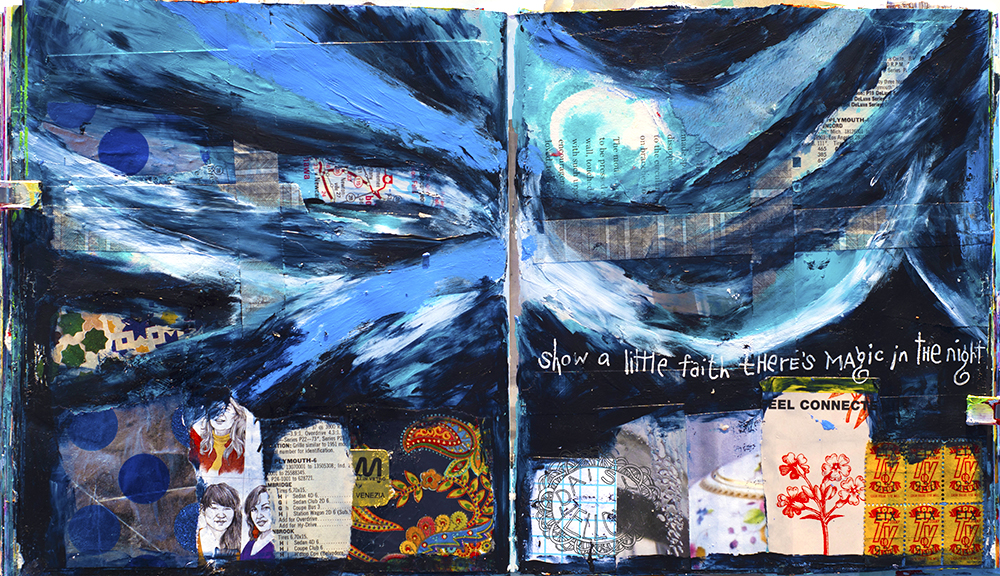 Collage & acrylics in an altered book.