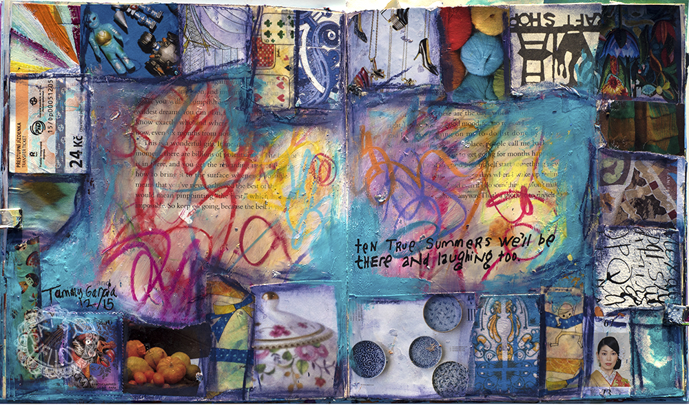 ten true summers we'll be there and laughing too;art journal pages in an altered book, tribute to Roundabout by Yes. Artwork by tammy Garcia
