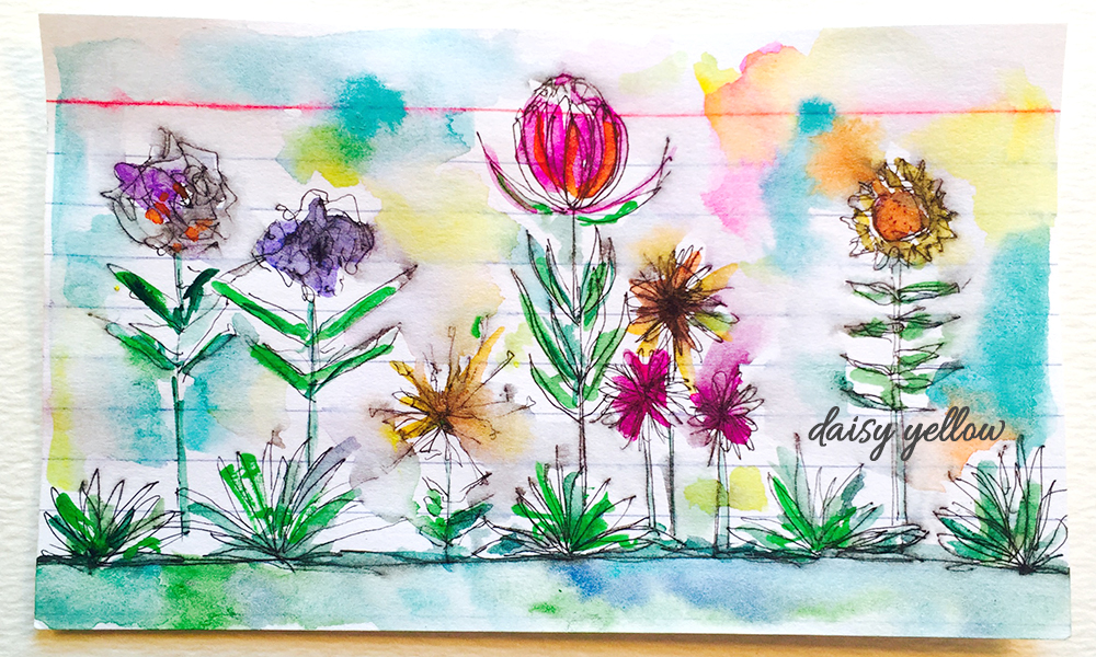 """3x5"""" index card, ink and gouache, artwork by Tammy Garcia."""