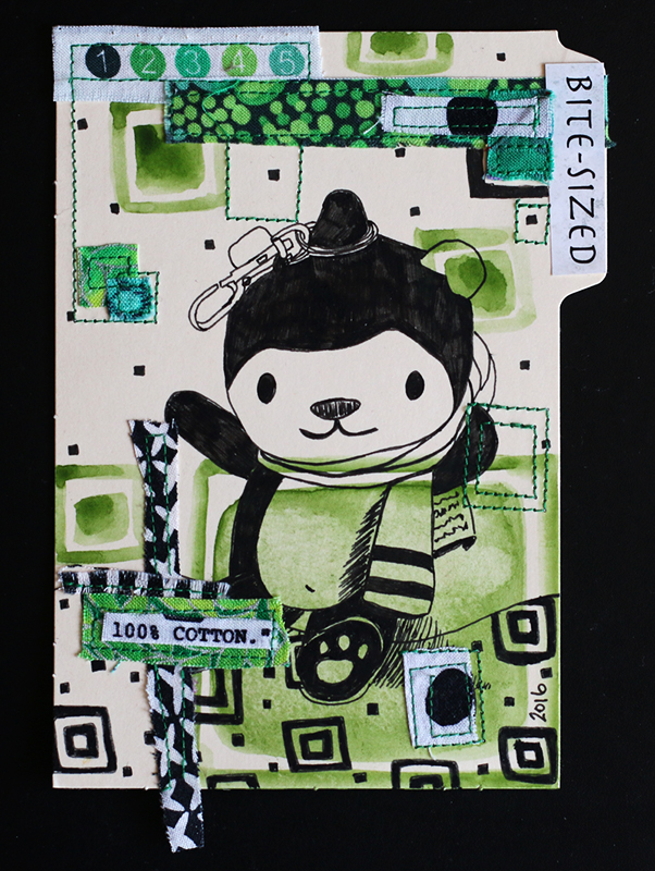 4x6 card, ink, watercolor, fabric, magazine clipping, thread. artwork by amy cowen.