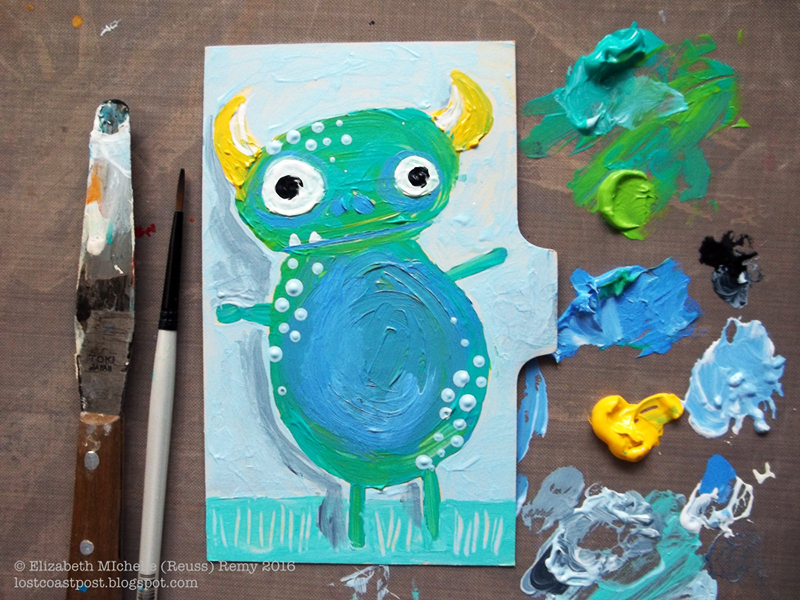 """3x5""""index card divider, acrylics, artwork by michelle remy."""