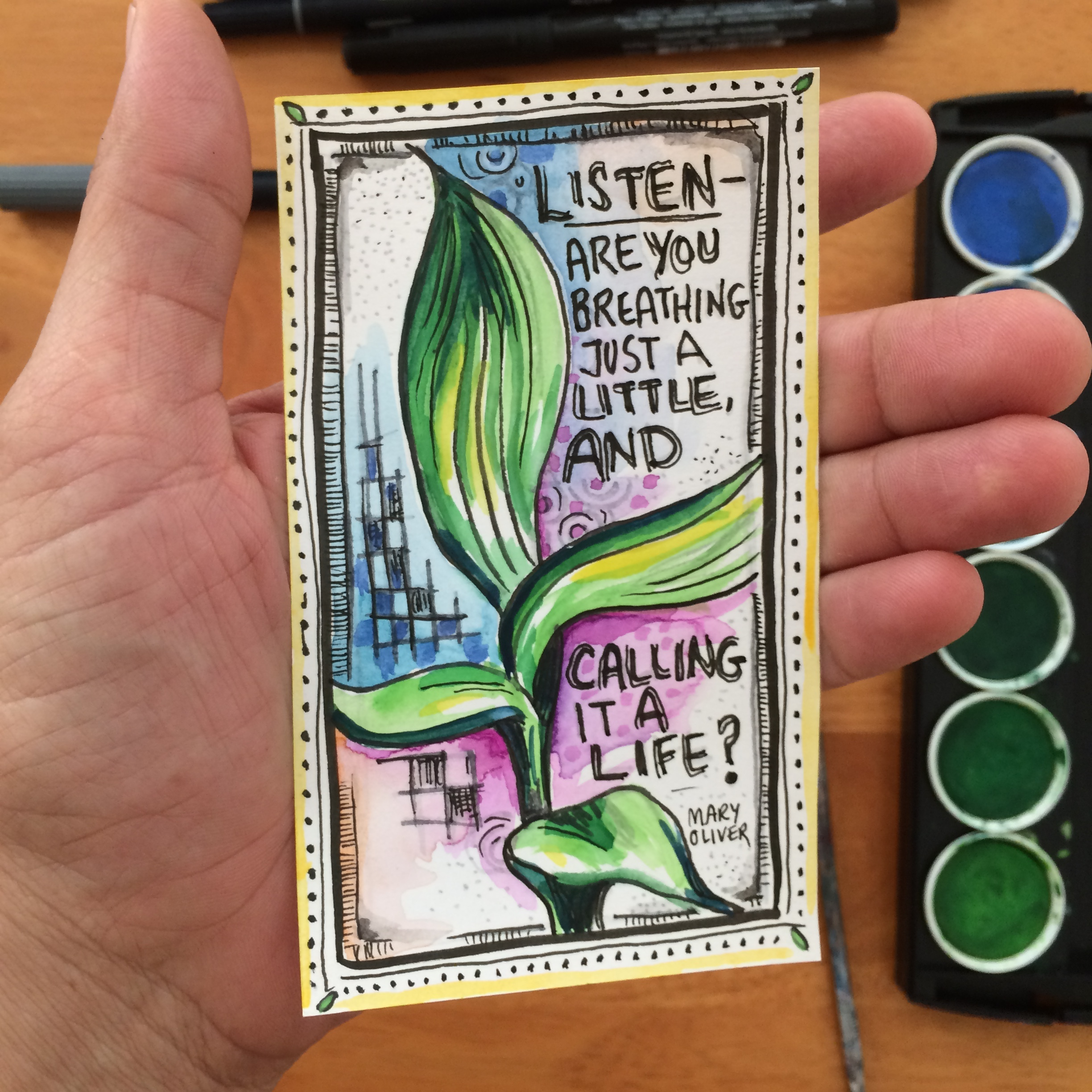 """3X5""""INDEX CARD, w atercolors, PITT pens, Tombow pens, artwork by connie solera."""